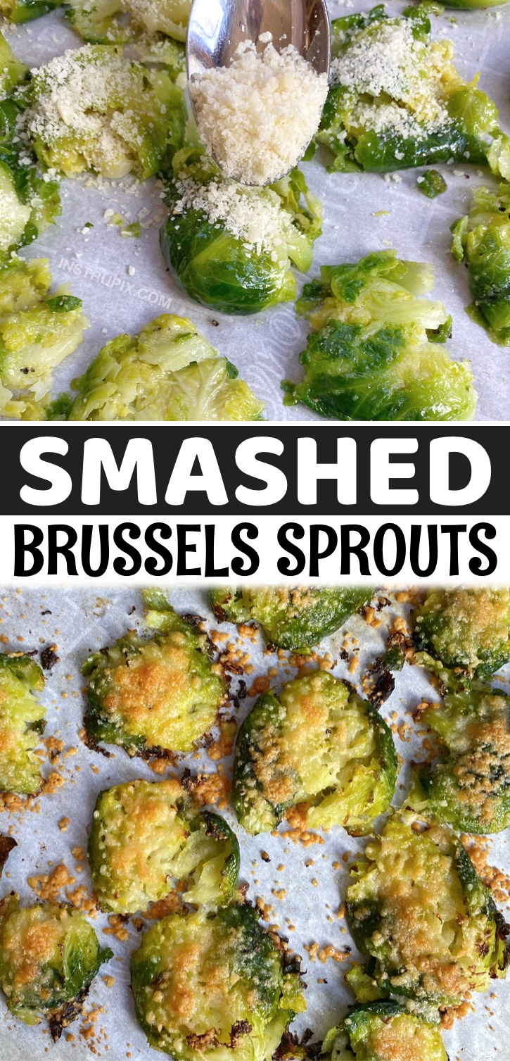 Looking for easy low carb vegetable side dish recipes? These Smashed Brussels Sprouts are amazing! Roasted with with garlic and parmesan cheese! The BEST simple low carb and keto friendly side dish. Pairs well with chicken, fish and steak. This quick and easy veggie recipe is vegetarian, healthy, ketogenic and delicious! A family favorite clean eating recipe for busy weeknight meals.
