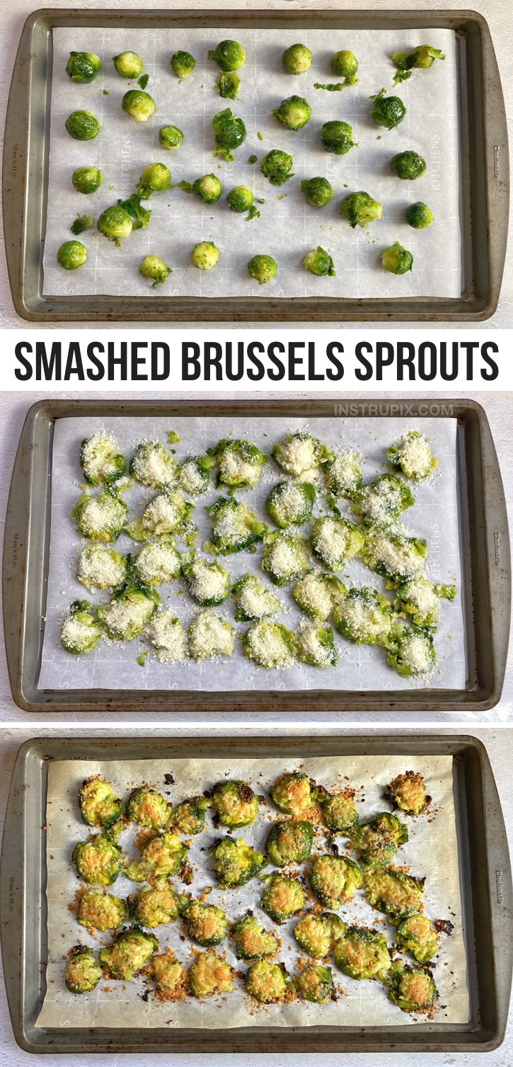 Looking for easy veggie side dish recipes? Smashed & Roasted Crispy Brussels Sprouts (made with garlic and parmesan cheese!). The BEST quick and easy veggie side dish for dinner. Great with chicken, steak, fish, bbq and more! This recipe is healthy, keto and low carb! A family favorite side dish. Even my picky eaters love them.