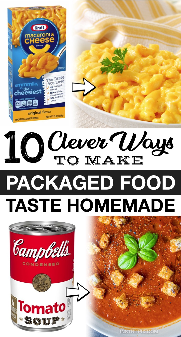 Food Hacks: Packaged food may not always be the best, but we can all admit that it's incredibly convenient. Even the savviest of cooks sometimes use canned and boxed items to cut down on the time and hassle cooking and baking entails. I almost always add spices, herbs and veggies to boxed dinner items like Hamburger Helper or Kraft Macaroni & Cheese. Here are some ways to improve these convenience foods to the point where they taste homemade! Great for quick, easy and cheap recipes.