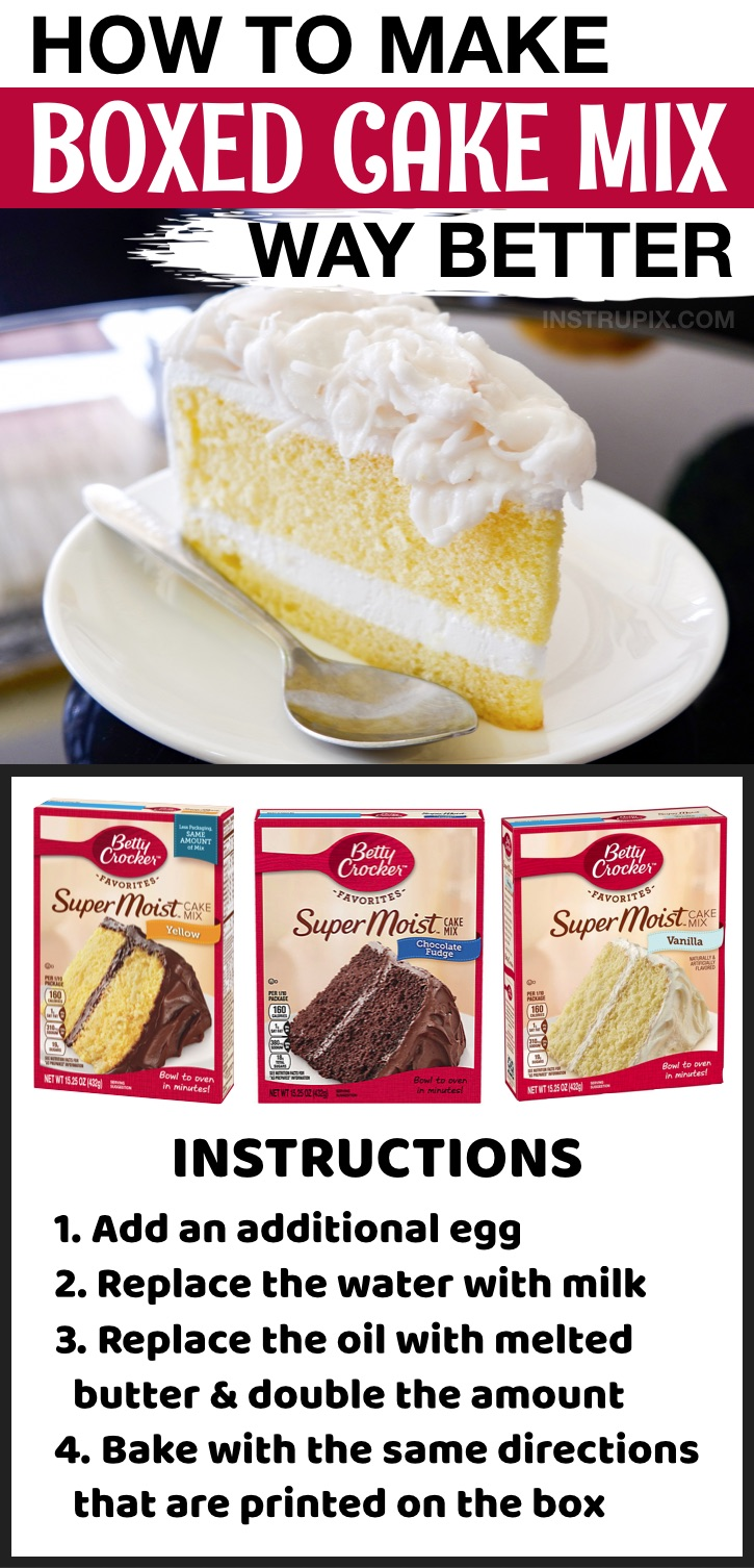 How to make store bought cake mix better! With a few changes you can make it taste homemade. Great for cake and cupcakes. You're going to love all of these food and kitchen tips and tricks.
