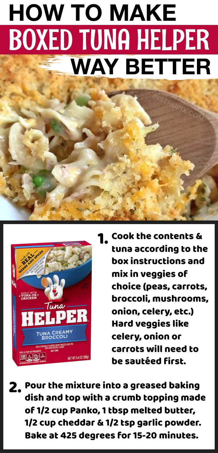 How to make hamburger helper and tuna helper taste better! These simple food hacks will make boxed and canned food taste homemade.