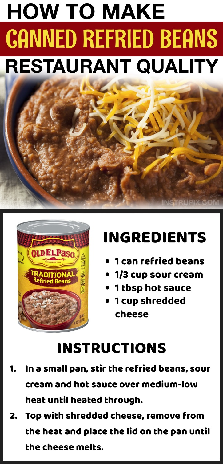 How to make canned refried beans better! Use this easy food hacks to make them taste like they came from a restaurant. Lots of life hacks here every girl should know!