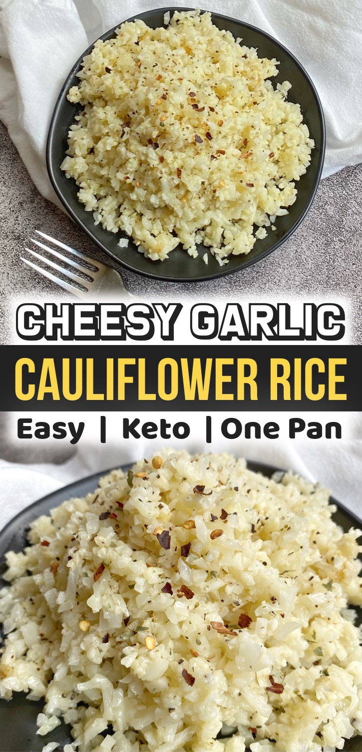 Add this quick and easy cauliflower rice to your keto meal plan! It's the best low carb and healthy vegetable side dish that pairs well with just about any meal including chicken, bbq, steak, seafood and more. It's made with just a few cheap ingredients including frozen cauliflower rice, butter, garlic and parmesan cheese. And it's made in just one pan! A great last minute keto recipe for dinner. A simple and yummy recipe for beginners on a keto diet or anyone wanting weight loss.