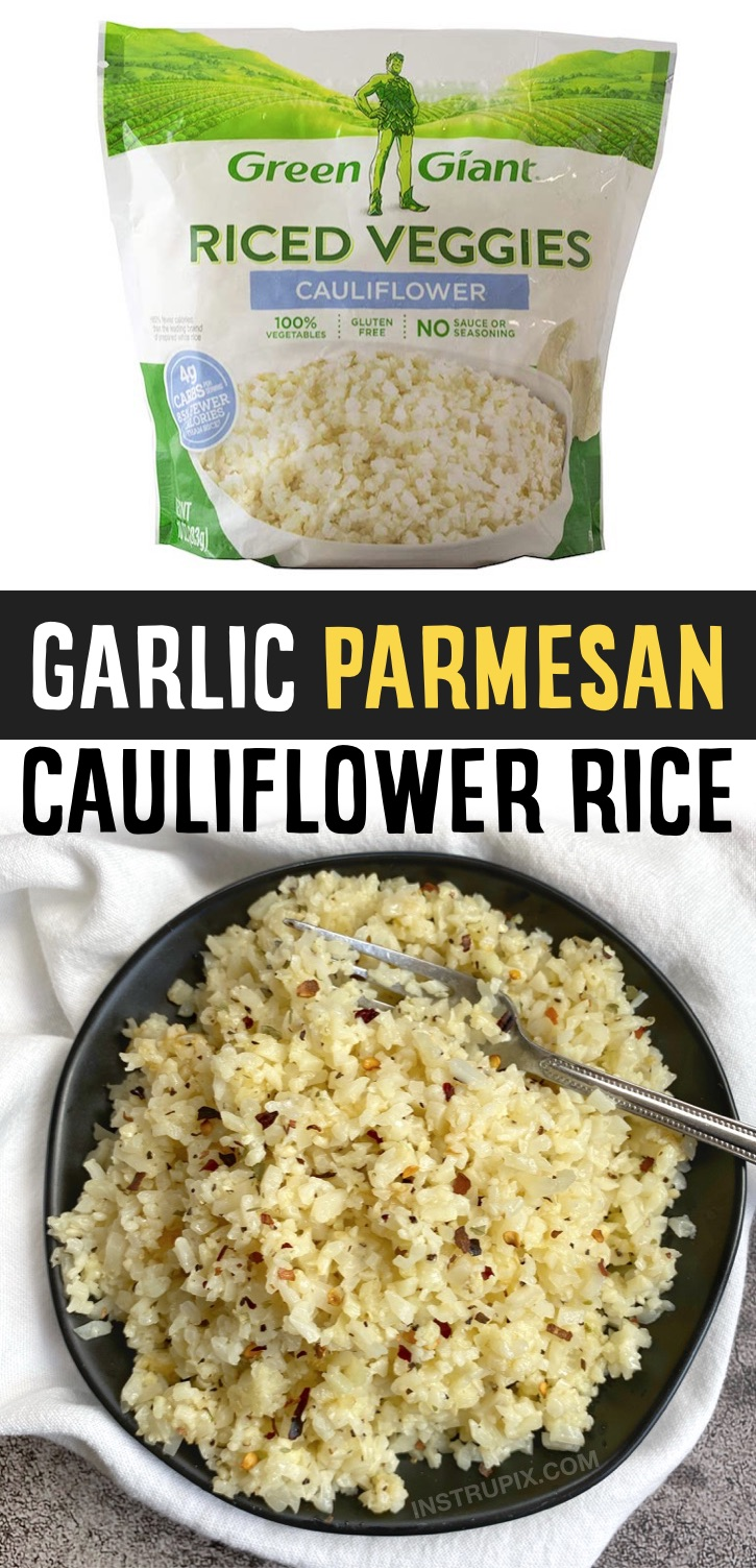If you're looking for simple and healthy low carb side dish recipes for dinner, this cauliflower rice is insanely delicious. Not only is this yummy keto side dish one of my favorite recipes, it's also really quick and easy to make thanks to frozen cauliflower rice. You're simply going to microwave it according to the package instructions, and then sauté the cooked cauliflower rice for a few minutes with butter, minced garlic and parmesan. It takes less than 10 minutes! Family approved!