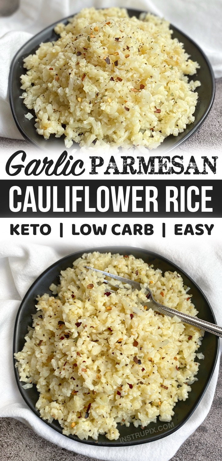 Looking for easy low carb side dish recipes for dinner? This healthy and keto friendly cauliflower rice is so quick and easy to make thanks to frozen cauliflower rice! Such a simple side dish for bbq, chicken or steak. This makes busy weeknight dinners a breeze. So yummy!