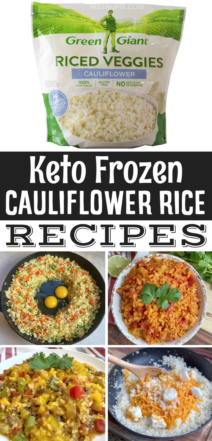 Easy Keto Recipes For Beginners | Frozen cauliflower rice is seriously the BEST quick and easy veggie to make! It pairs with just about anything and can even make last minute meals, skillets and casseroles. It's a great low carb replacement for rice! It makes for simple side dishes as well as dinners that are practically effortless. Here is a list of the best frozen cauliflower rice recipes, everything from spanish rice to fried rice. Yummy! Great recipes for beginners on a ketogenic diet.