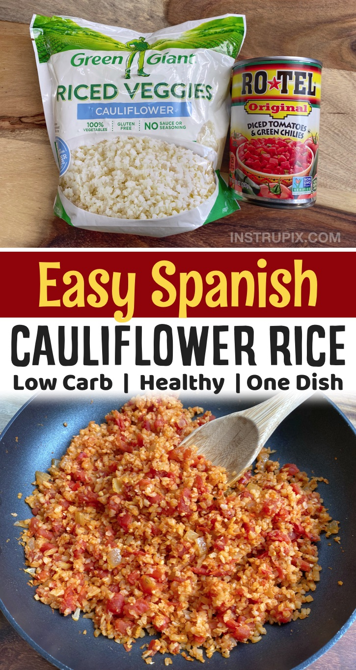 Oh my goodness, if you are looking for easy low carb side dishes to make for dinner, this spanish cauliflower rice is so simple to make with just a few ingredients including frozen cauliflower rice and a can of Rotel. It's pairs really well with any Mexican inspired meal or a simple protein like chicken or steak. So quick and easy to make in just ONE PAN! A great last minute side dish for busy weeknight meals. It's healthy, keto friendly and super tasty. Packed full of fiber, too!