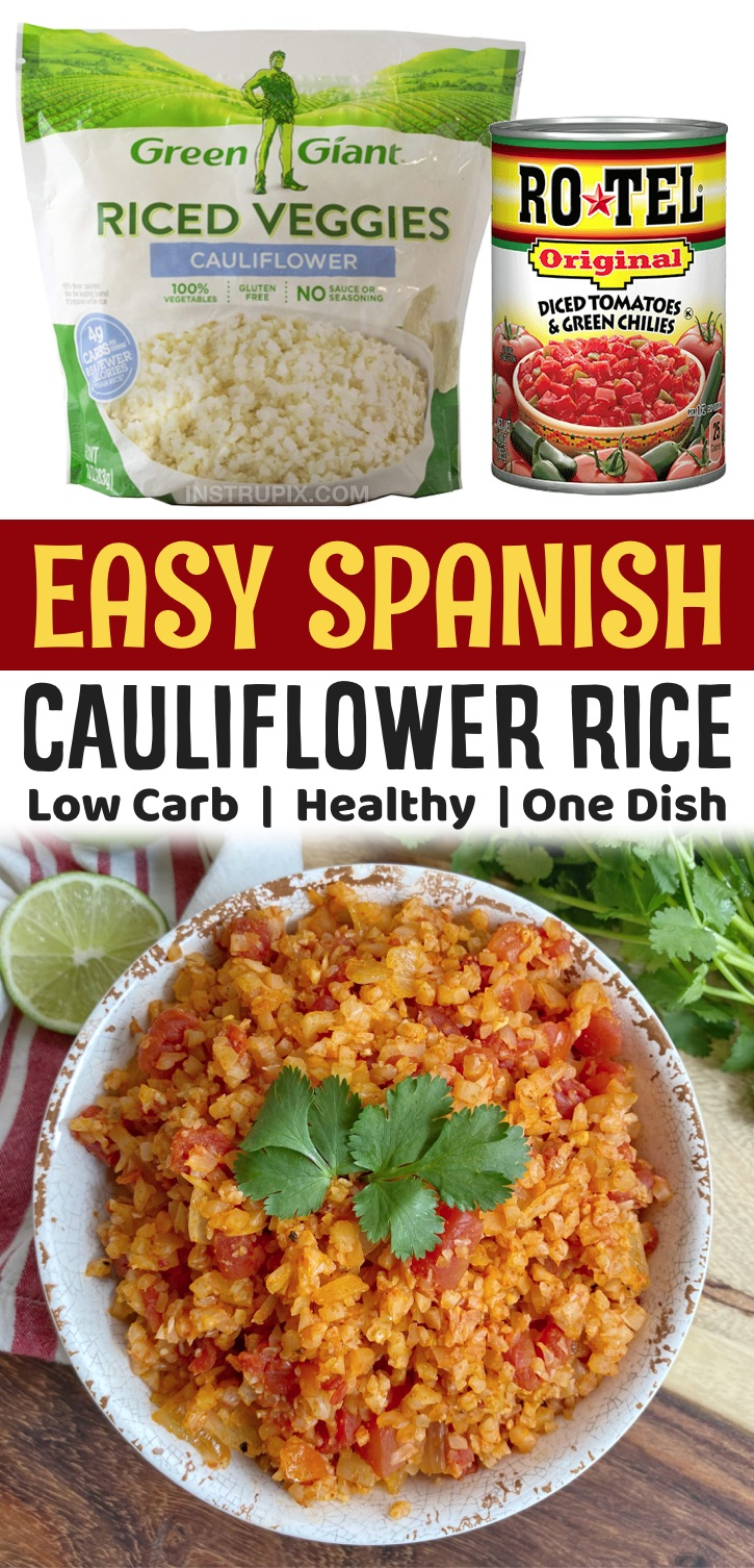 Easy Low Carb & Healthy Side Dish Recipes -- This simple spanish cauliflower rice recipe is so quick and easy to make with frozen cauliflower rice in just one pan! It's healthy, keto friendly, low carb and vegetarian. It pairs well with any Mexican inspired meal. So yummy and full of fiber! My family loves these vegetables.