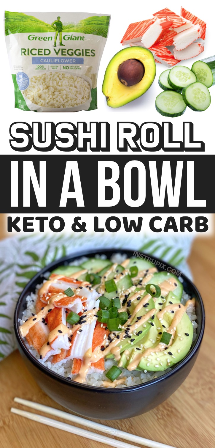 Easy Sushi Bowls Made With Frozen Cauliflower Rice -- Looking for keto meal prep ideas for work? These low carb sushi bowls are super quick and easy to make, and yummy served cold! A great make ahead, no cook and healthy meal for on the go. This low carb lunch or last minute dinner is packed full of fiber and protein.