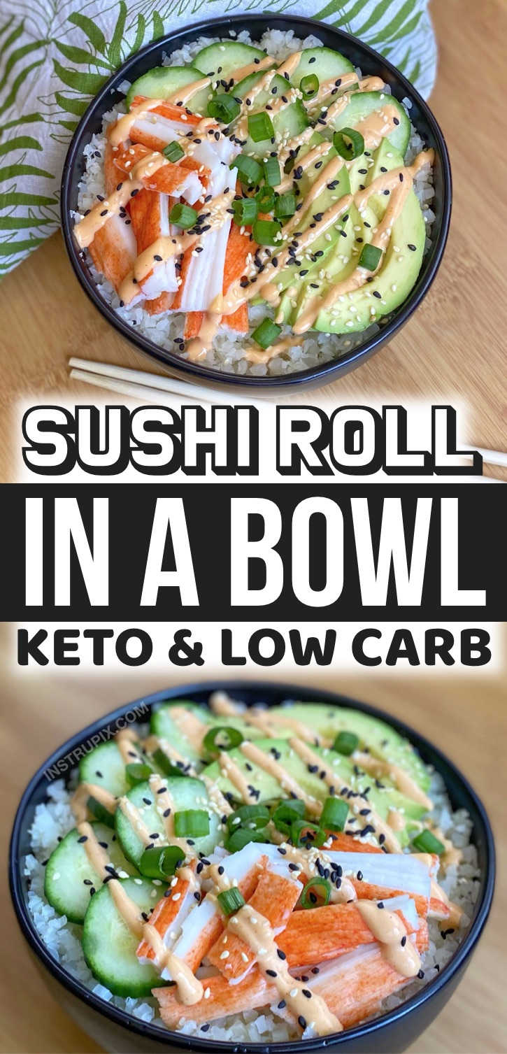 Keto Sushi Bowls Made With Frozen Cauliflower Rice -- Looking for healthy keto make ahead lunch ideas for lunch at work? These simple sushi bowls are easy to make for meal prep, and so good served cold! A great make ahead no cook lunch idea for on the go. A great keto recipe for beginners!
