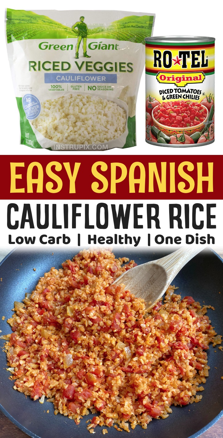 Easy Low Carb Side Dish Recipes | If you're looking for simple and healthy vegetable side dishes, this spanish cauliflower rice is so quick and easy to make with frozen rice! A family favorite side dish for any Mexican inspired meal. It's yummy, healthy, keto friendly and vegetarian.