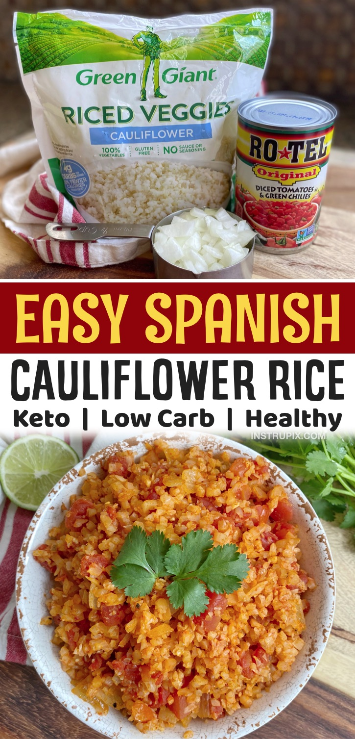Low Carb & Healthy Side Dish Recipes | This spanish cauliflower rice is so easy to make thanks to the store-bought frozen rice! You just toss everything together in a single pan to make this Mexican inspired keto-friendly cauliflower rice. It pairs well with low carb burritos, salad bowls, tacos, enchiladas and more. Easy to make with a can of Rotel! You can't even tell it's made with veggies. It tastes better than rice to me, plus it's low carb, vegetarian, keto and cheap to make.