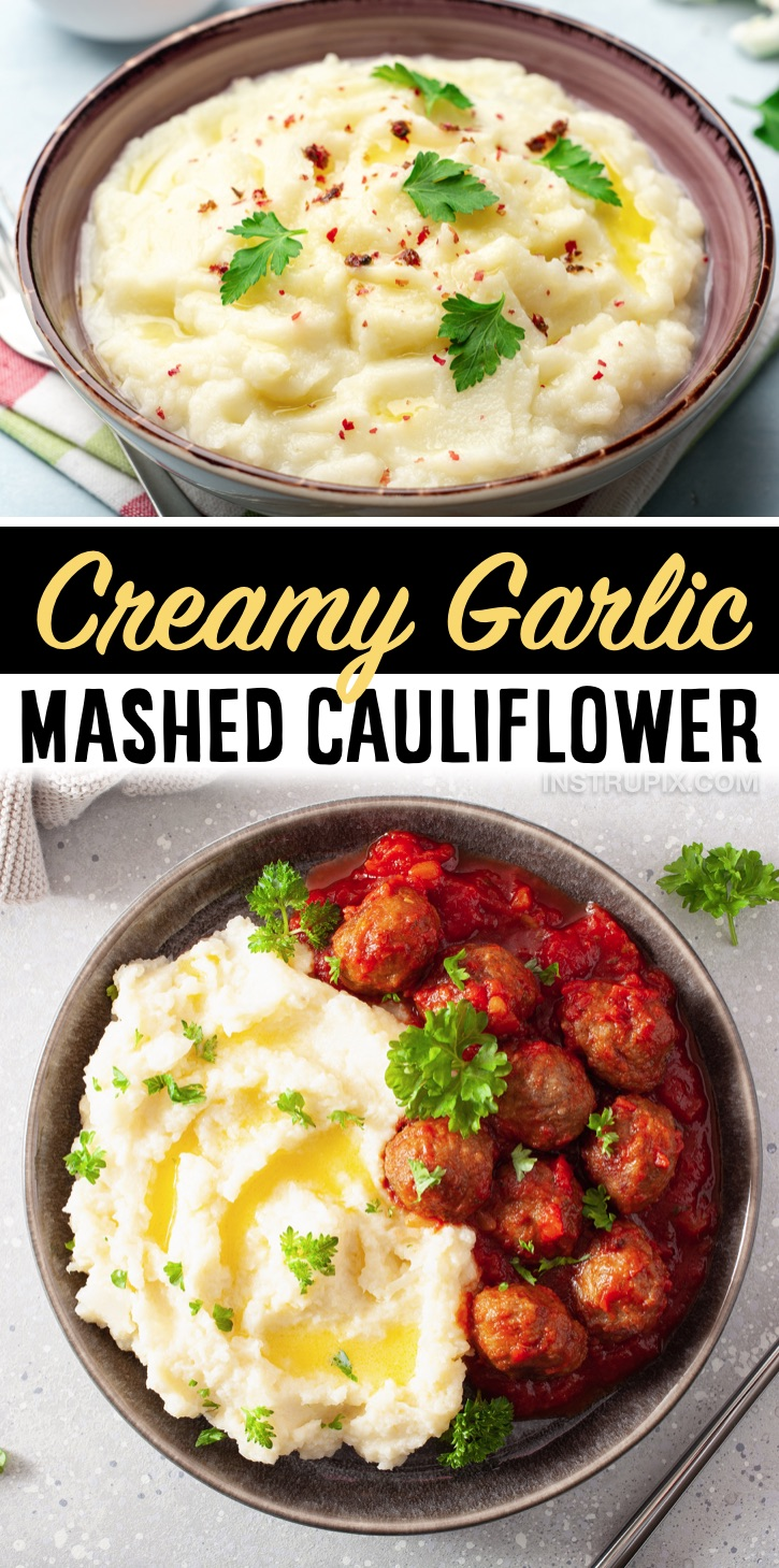 Creamy Garlic Mashed Cauliflower (Made with fresh or frozen cauliflower!) | My favorite low carb and keto side dish for dinner. Tastes like comfort food! Even my picky kids and husband love it. It's so creamy and delicious with steak or chicken. Great for meal prepping for the week because it keeps well in the fridge all week.