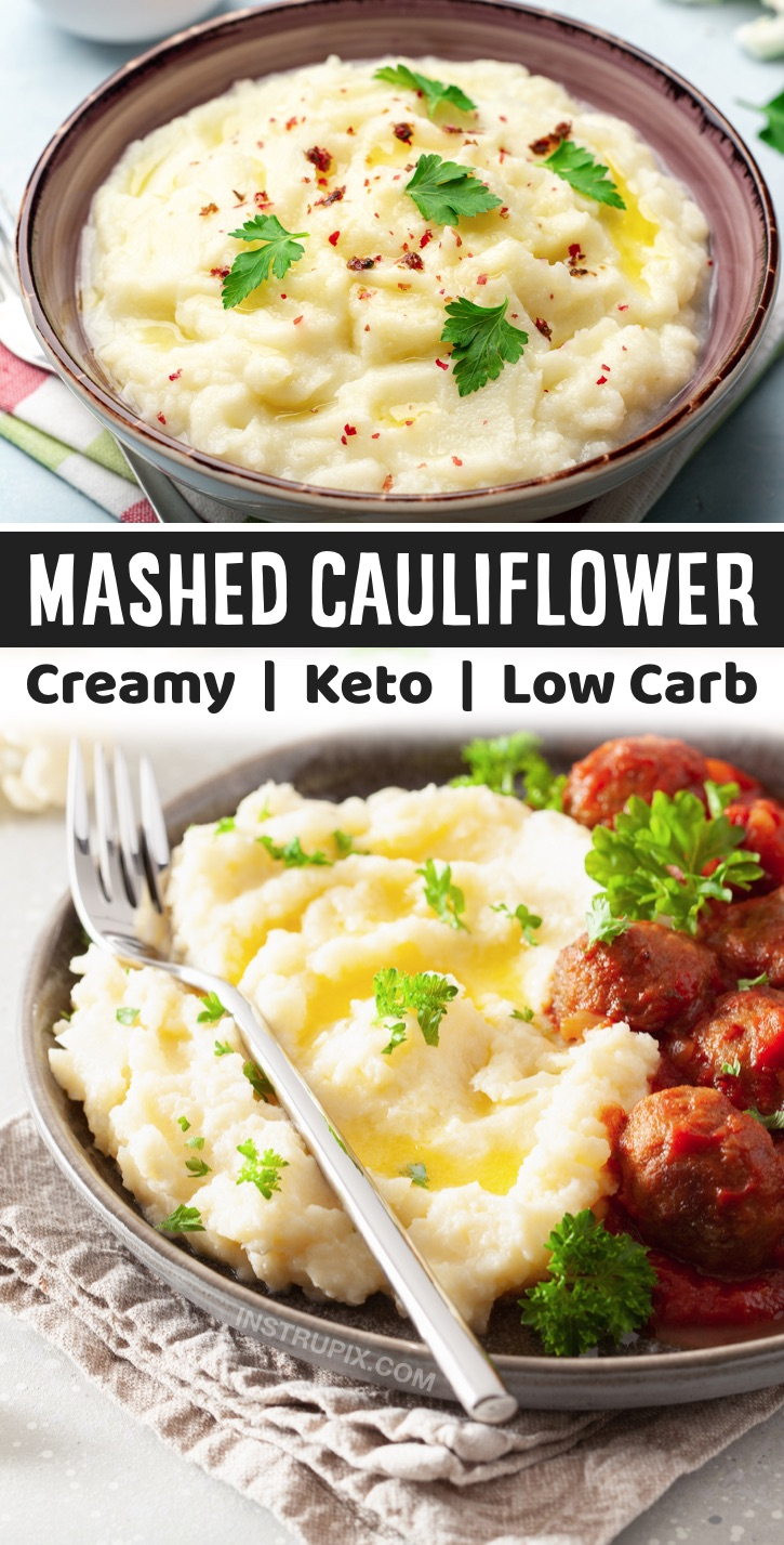How To Make Mashed Cauliflower (The Best Low Carb Replacement for Potatoes) | An easy keto friendly side dish that compliments just about any meal! If you're on a keto diet and miss the creamy texture of mashed potatoes, you've got to try making this guilt-free version of those tasty spuds using fresh or frozen cauliflower! Seriously, once you blend it all up wit butter, sour cream and cream cheese, you still get that rich and delicious comfort food that pairs well with just about any dinner.