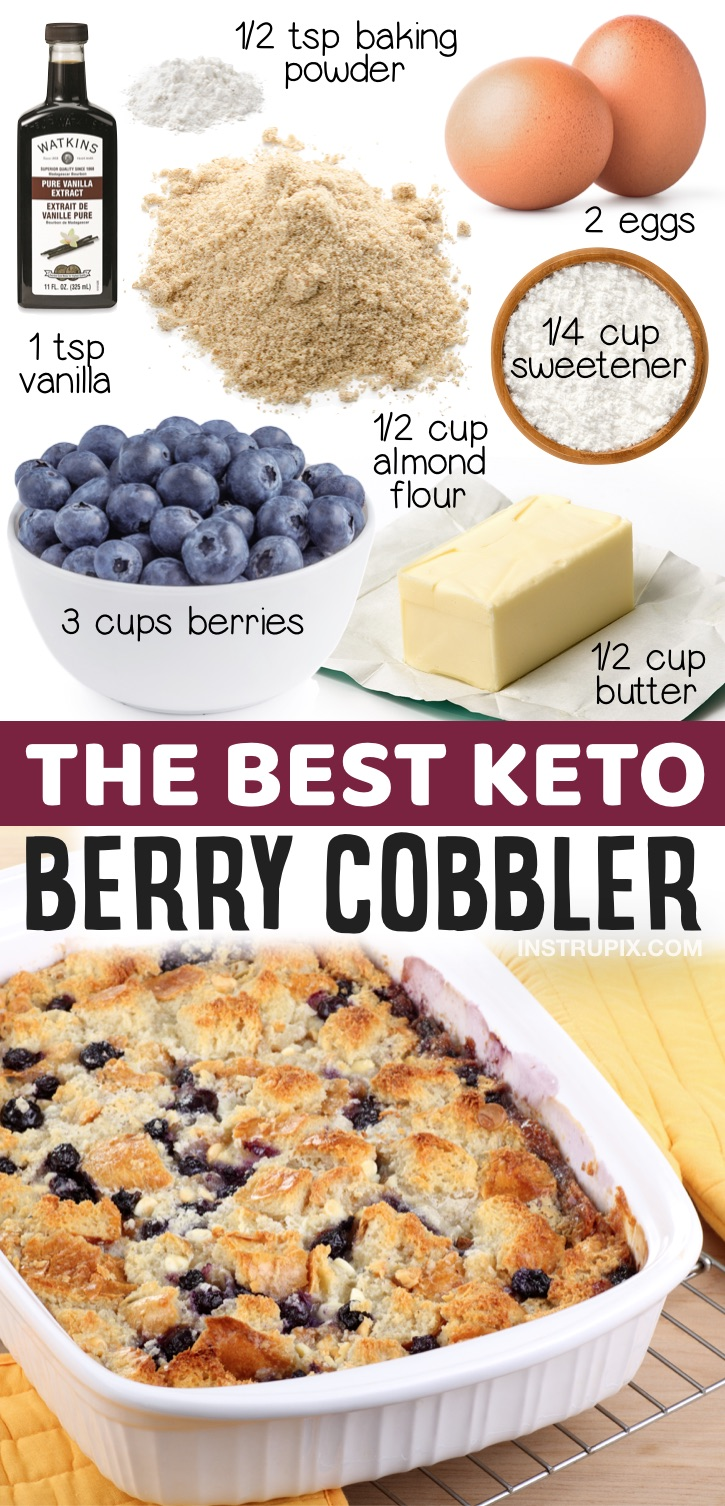 Keto Berry Cobbler Made With Almond Flour | 20 Easy Keto Dessert Recipes That Don't Taste Low Carb -- If you're looking for simple low carb treats, this homemade keto cobbler is amazing! Fun and easy to bake with no chocolate. A nice change from the usual fat bombs or mug cakes.