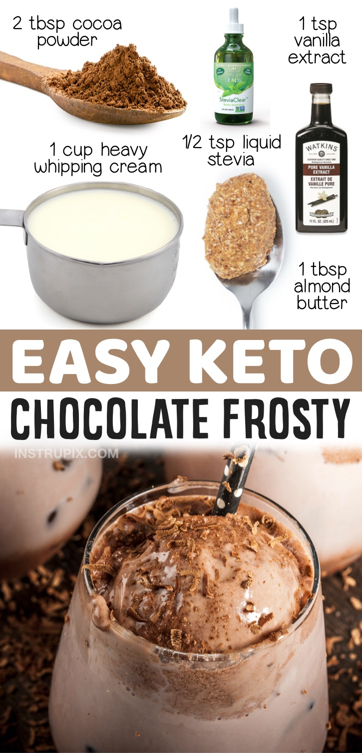 Keto Chocolate Frosty Dessert | 20 Quick & Easy Keto Desserts To Make - If you're looking for simple low carb treats, you're going to love this chocolate frosty ice cream! No churn, no egg, and takes just a few minutes to whip up! A great last minute keto dessert for summer. Tastes just like a Wendy's frosty! It's soft and creamy like soft serve ice cream.