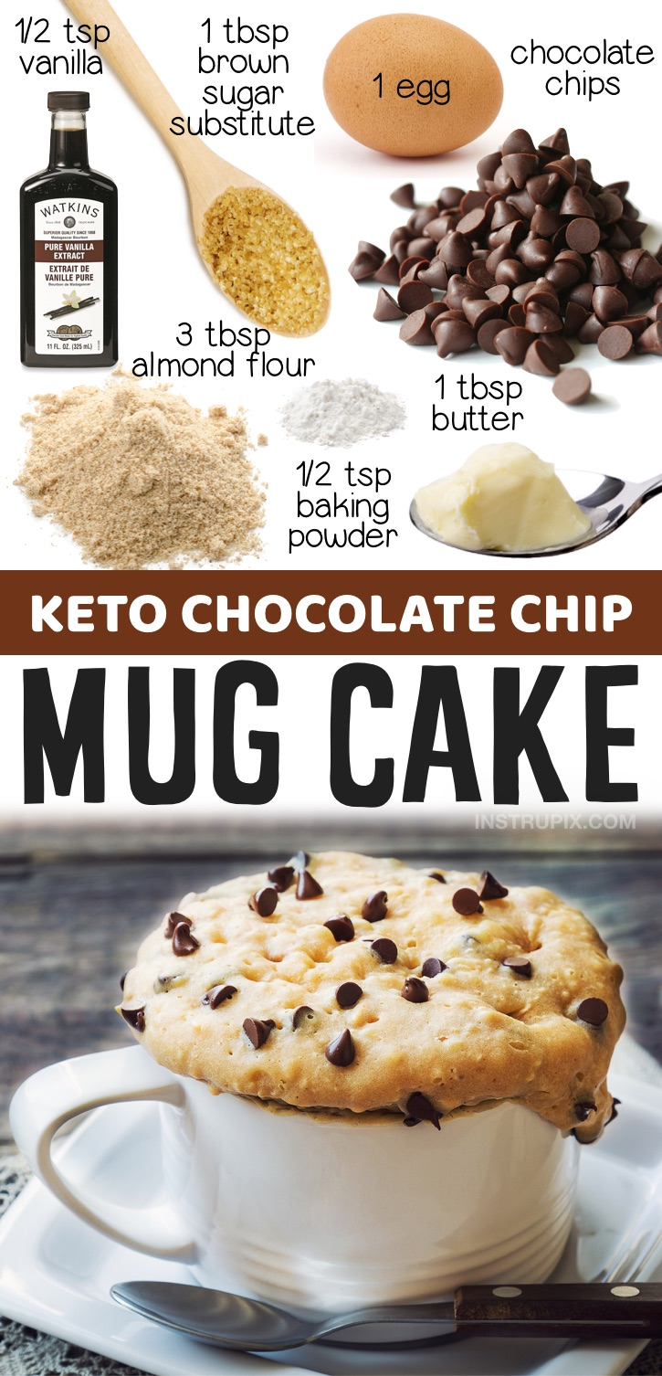 Keto Chocolate Chip Mug Cake | Looking for keto mug cake recipes to make in your microwave? This chocolate chip mug cake is so quick and easy to make! A great last minute dessert recipe for one. Make it with almond flour, butter, egg, low carb sweetener and sugar free chocolate chips. Diabetic friendly sweets and treats!