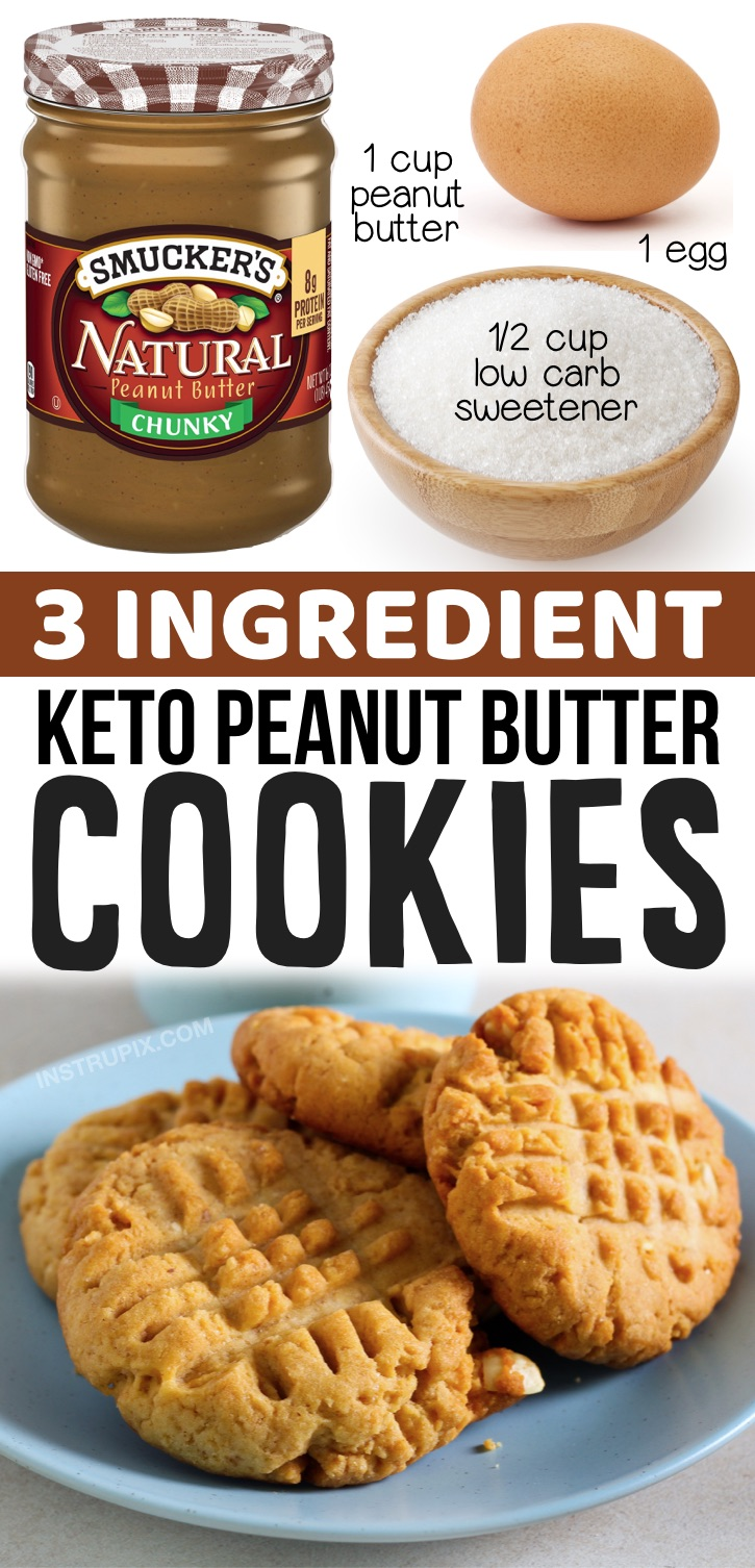 Keto Peanut Butter Cookies made with no flour! Just 3 ingredients: peanut butter, a low carb sweetener (swerve, stevia, monk fruit) and an egg. A great last minute keto dessert idea! If you're looking for quick and easy keto dessert ideas, these cookies are a must-have recipe. You probably already have the ingredients at home.