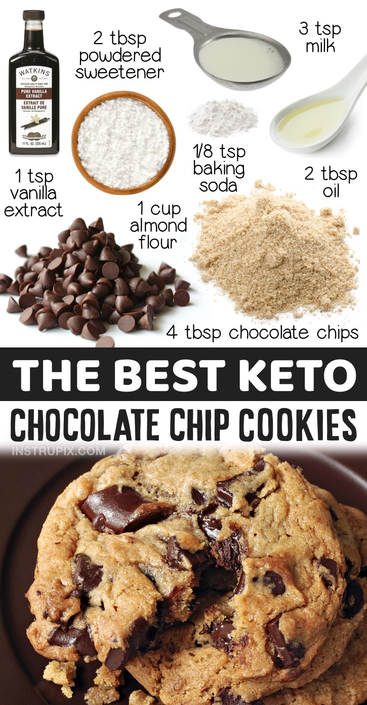 Easy Keto Chocolate Chip Cookies Made With Almond Flour | A really simple low carb dessert recipe! If you're looking for keto treats to make at home, these cookies are made with just a few simple ingredients that you probably already have in your pantry, and they don't taste low carb! The BEST keto chocolate chip cookies, ever! Even my kids love this recipe.