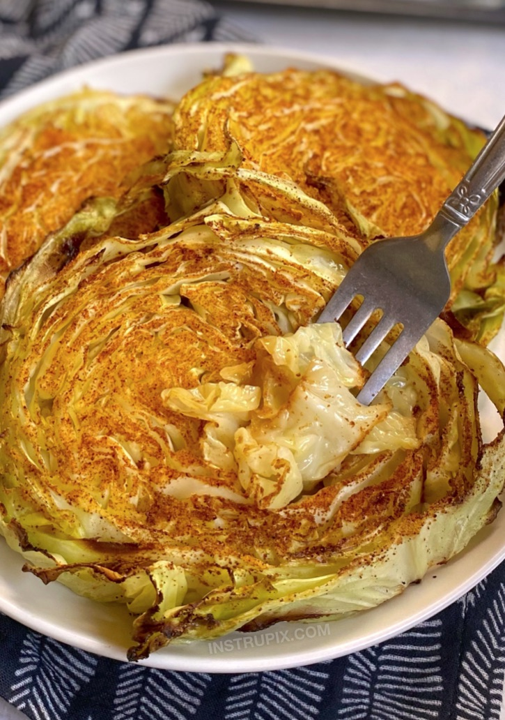 Oven Roasted Cabbage Steaks (how to bake them in the oven!) Healthy, low carb and vegan! A family favorite side dish for chicken or steak.