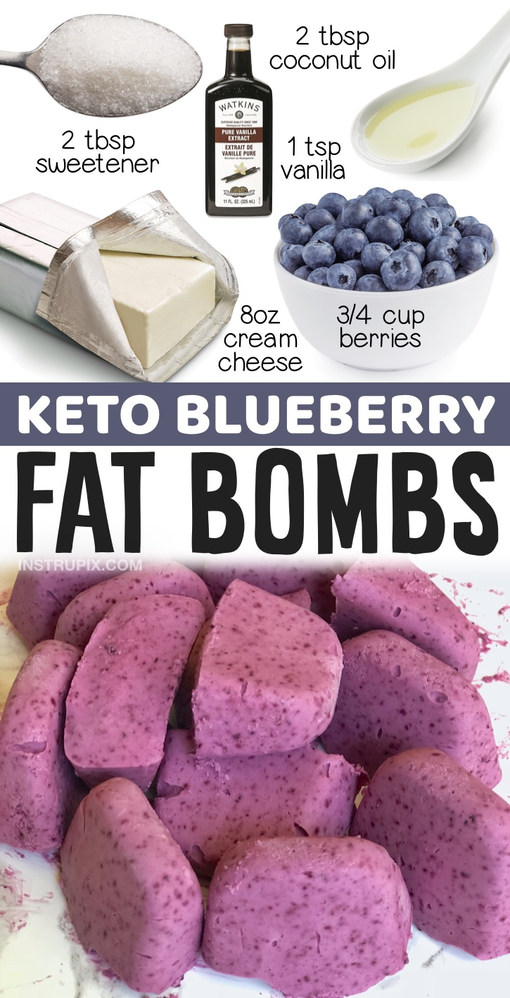 Keto Cheesecake Fat Bombs (Made With Blueberries) | 20 Quick & Easy Keto Dessert Ideas -- If you're on the hunt for easy keto treats to make, here is a list of the best recipes on Pinterest! Everything from cream cheese fat bombs to microwave mug cakes! Yes, you can eat desserts on a low carb and ketogenic diet. These recipes are all low in sugar and diabetic friendly, plus they are absolutely delicious!