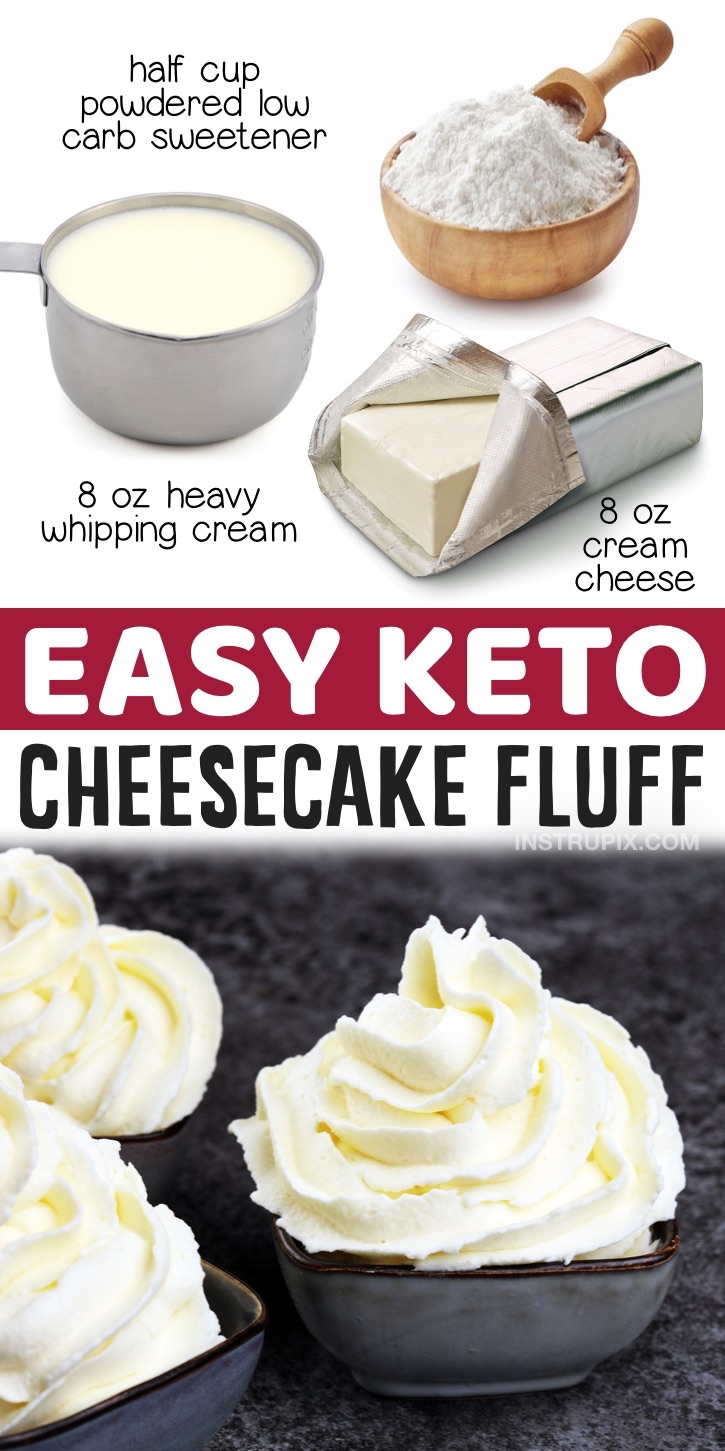 Keto Cheesecake Fluff | The best low carb mousse! A great last minute, no bake keto dessert recipe to make at home with just 3 ingredients: cream cheese, heavy whipping cream and a low carb sweetener like Swerve. No eggs, no nuts and no hassle. So rich, fluffy and yummy!