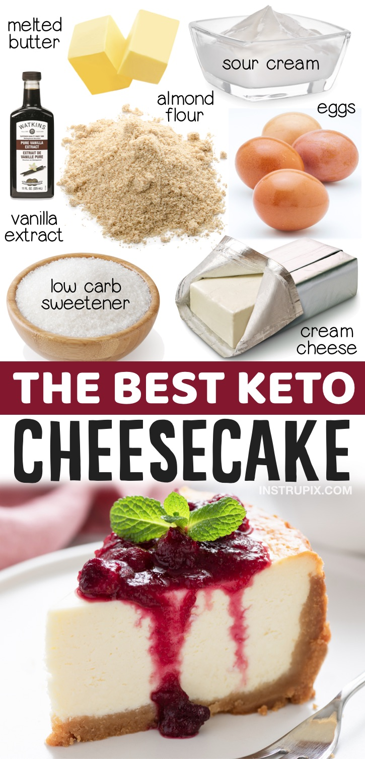 The Best Keto Cheesecake Recipe (With An Almond Flour Crust) | Made with just a few simple ingredients! This classic homemade cheesecake is so quick and easy to make and is perfect for holidays, birthdays and parties. It's so rich, creamy and delicious. Taste just like New York Cheesecake but without all of the carbs and sugar. Keto friendly, diabetic, low carb and no chocolate!