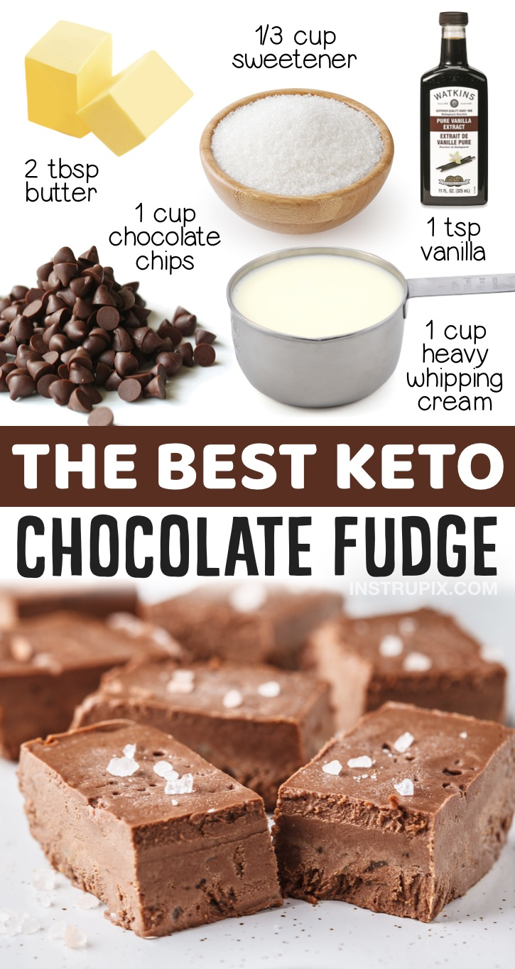 Keto Chocolate Fudge Recipes (Nut Free & No Egg) | A simple low carb dessert idea for a crowd! Perfect keto treat to bring to parties, holidays and potlucks. This low carb dessert is made with just a few pantry staples and requires no baking. So yummy!
