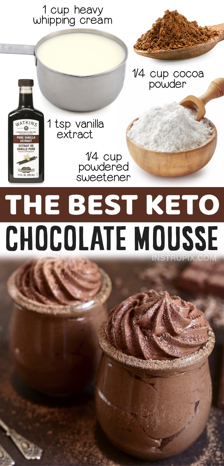 Keto Chocolate Mousse - The easiest low carb dessert you'll ever make! This sweet treat only requires a handful of ingredients: heavy whipping cream, cocoa powder, vanilla extract and the low carb powdered sweetener of your choice. You can whip this stuff up in less than 5 minutes. A great last minute dessert idea for your sugar cravings!