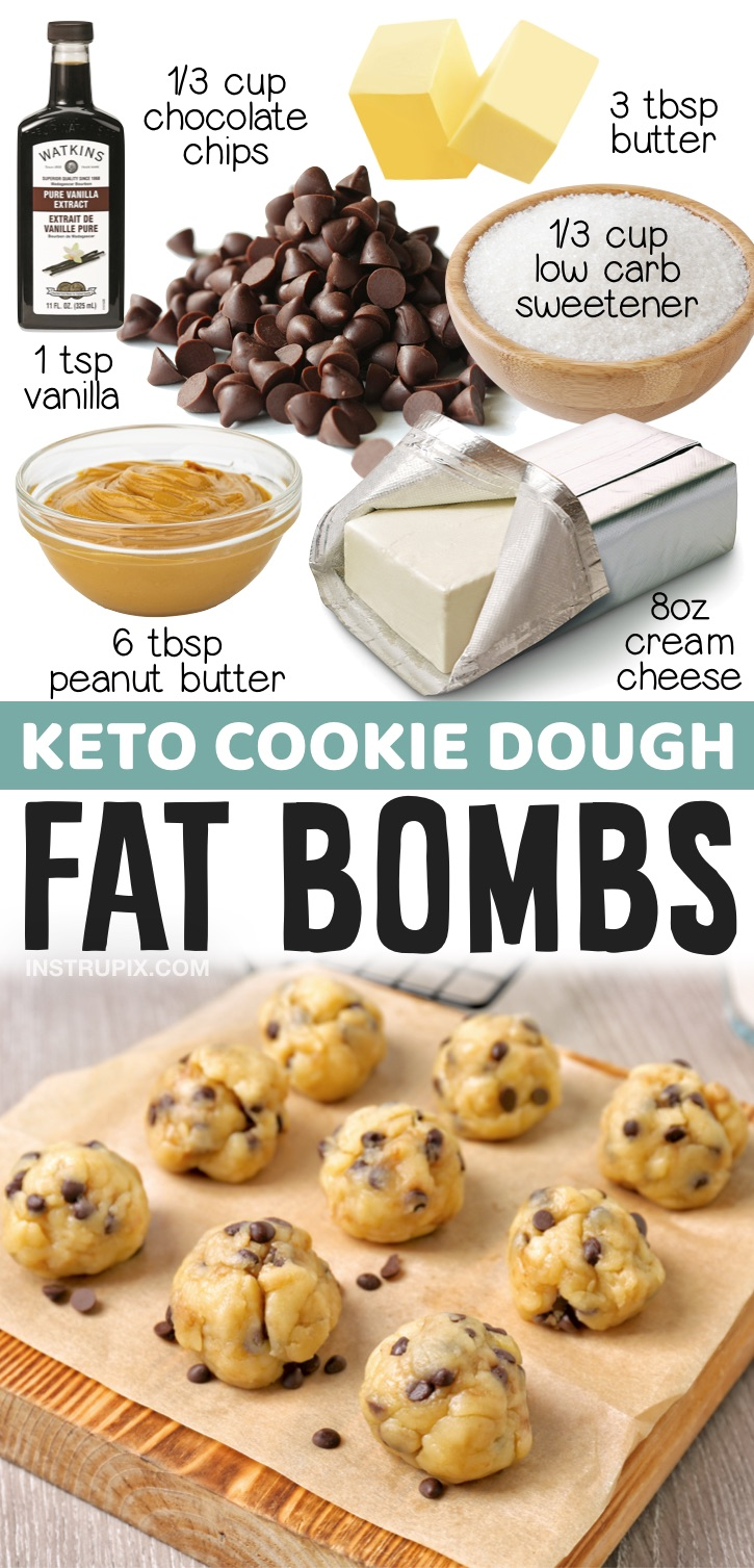 Keto Cookie Dough Fat Bombs | 20 Easy Keto Dessert Recipes - If you're looking for simple keto desert ideas, here is a big list of some of the best keto treats on Pinterest! Everything from cream cheese fat bombs to 2 minute mug cakes. You can be on a low carb diet and enjoy desserts at the same time with just a few pantry staples.