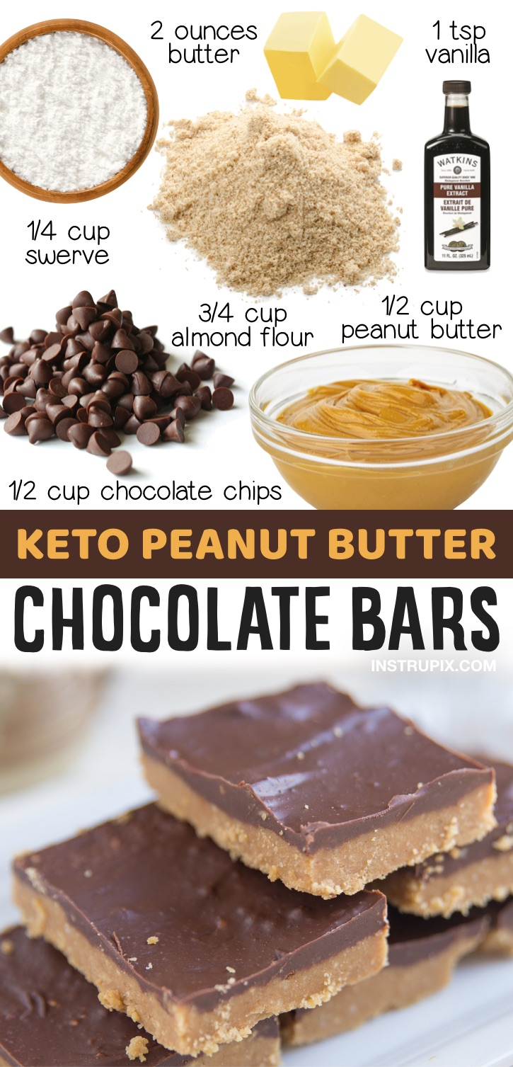 Keto Peanut Butter Chocolate Bars | 20 Simple Keto Dessert Recipes Made With Few Ingredients - Everything from chocolate mug cake to cream cheese fat bombs! If you're looking for low carb homemade treats, add these recipes to your keto dessert board. They are great for last minute treats at home or even dessert recipes to feed a crowd. Only simple keto recipes with common ingredients listed here.