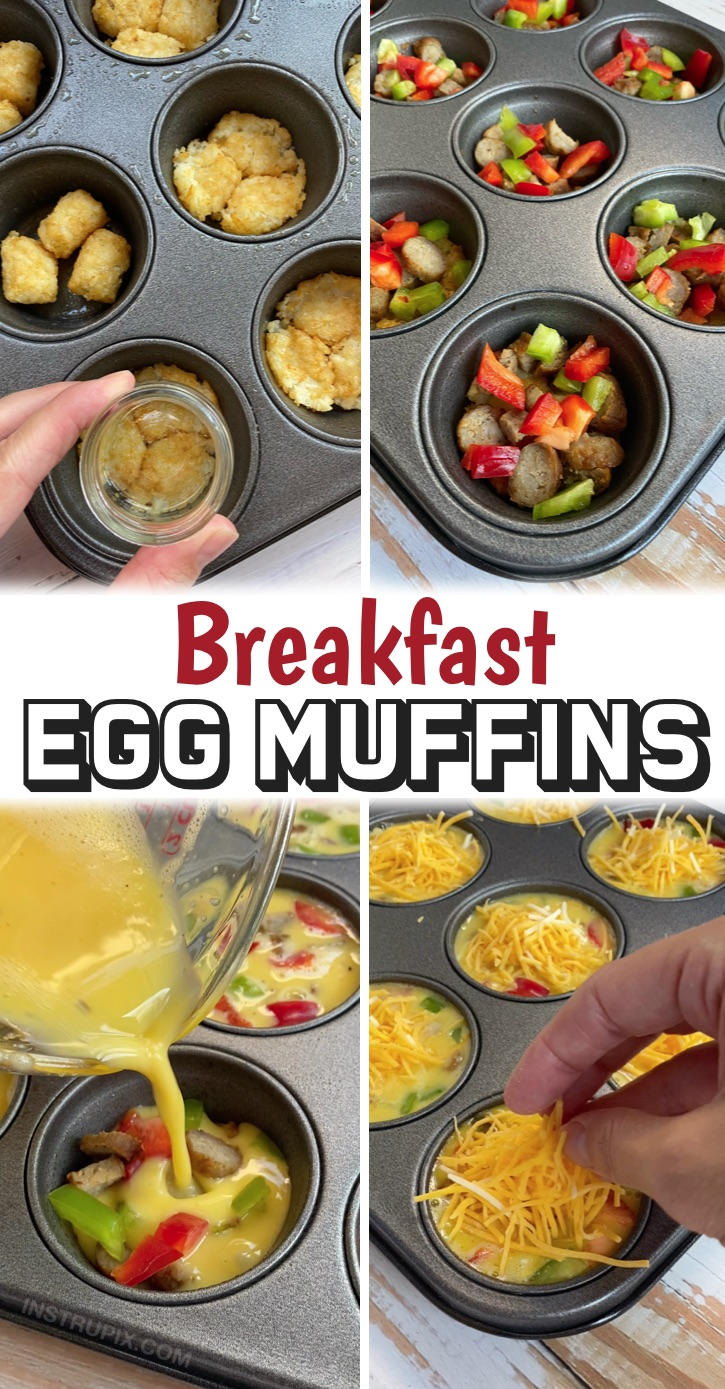 Baked egg muffins with a tater tot crust stuffed with the meat and veggies of your choice! These egg muffins are unique in that they have an easy-to-make potato crust thanks to frozen tater tots. You simply smash them into a muffin pan and bake them for about 10 minutes. Then scramble up some eggs and your favorite omelet ingredients and pour it over top. Finish them off with some shredded cheese, bake, and you're done! These are great for feeding a large family, and are super quick to make.