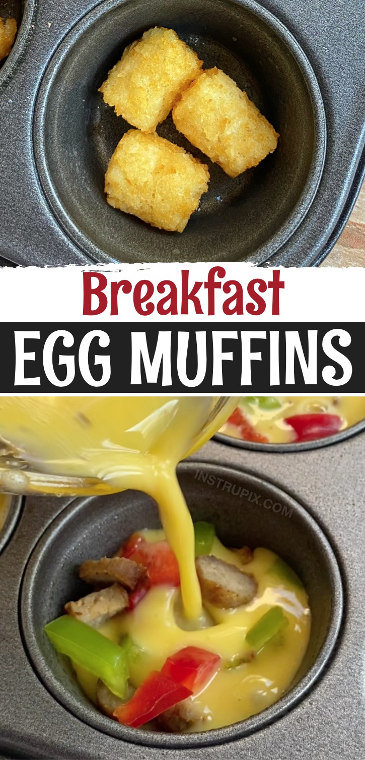 Egg muffins with a tater tot crust stuffed with the meat and veggies of your choice! I used sausage and bell peppers this time. If you're looking for breakfast ideas to feed a large family on busy mornings, these mini omelets are so fun and simple to make! You can customize them to your liking with any breakfast meat such as sausage, ham or bacon. I also like to squeeze in as many veggies as possible to make them at least somewhat healthy. A family favorite, and these are so easy to make!
