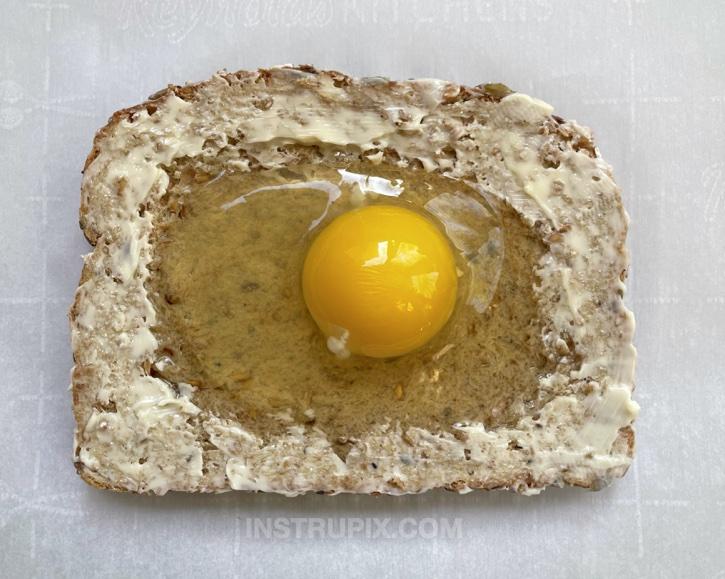 Cheesy Egg Toast Open Faced Breakfast Sandwich