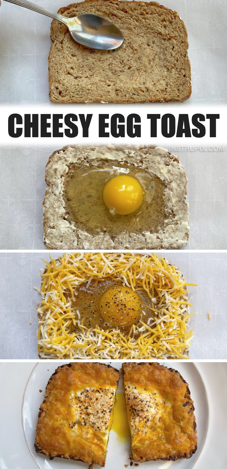 Cheesy Egg Toast Breakfast Sandwich -- If you're looking for quick and easy breakfast ideas, this egg toast is healthy, delicious and super fun to make! My kids love it especially for busy weekday mornings before school. It's simple enough for them to make themselves, and it just requires a few cheap ingredients that you probably already have at home.
